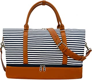 Weekender Bag Carry on Overnight Duffel for Women, Camtop Carrying Weedkend Travel Bags for Ladies, Large Canvas& PU Leather with Shoe Compartment (Black Strips)