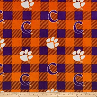 NCAA Clemson Tigers Buffalo Plaid Cotton Quilt Fabric By The Yard