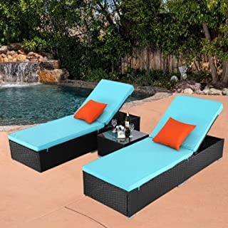 Do4U 3 Pcs Outdoor Patio Synthetic Adjustable Rattan Wicker Furniture Pool Chaise Lounge Chair Set with Table (Rattan, Deep Coffee)