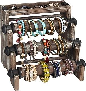 J JACKCUBE DESIGN Rustic Wood Antique Bracelet Display Stand with 4 Tier, Jewelry, Bangle & Watch Display Rack, Scrunchie Organizer, Accessories Storage - MK573A