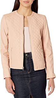 Cole Haan Womens 357M7974 Jewel Neck Quilted Leather Jacket Leather Jacket