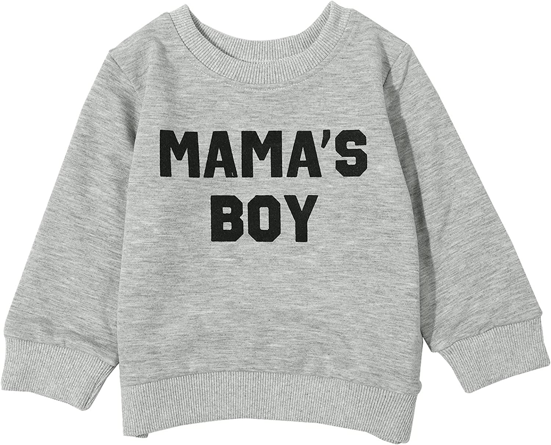 Toddler Baby Boys Mama's Boy Print Sweatshirt Unisex Long Sleeve Pullover T-Shirt Tops Fall Winter Clothes