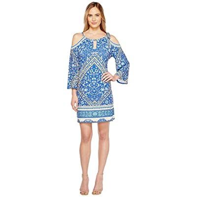 Hale Bob Sun Kissed Microfiber Jersey Cold Shoulder Dress (Blue) Women