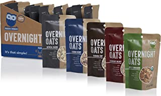 Overnite Organics Overnight Oats Variety Pack, USDA Organic, Good Source of Protein, High Fiber, 1.75-2oz Packages (Pack of 10)