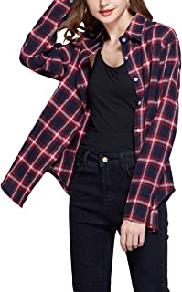 Women's Long Sleeve Casual Loose Classic Plaid Button Down Shirt