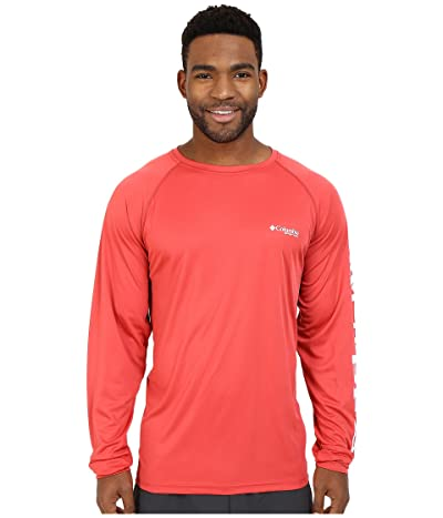 Columbia Terminal Tackletm L/S Shirt (Sunset Red/White Logo) Men
