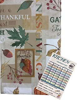 Autumn Leaves Vinyl Tablecloth Flannel Backed Colorful Thanksgiving Foliage Acorns and Berries with Sentiments Script Indo...
