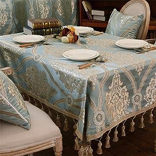 HXC Home Turquoise Fleuri Nappe Coton Linge Table à Manger Bureau rectangulaire Ronde décoration respectueux de l'environn...