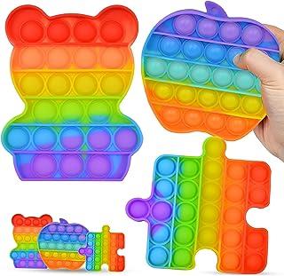 3 Pcs Multiple design Push Pop it Bubble Squeeze Sensory Fidget Toy Autism Special Needs Stress Reliever & Push Bubble Gad...