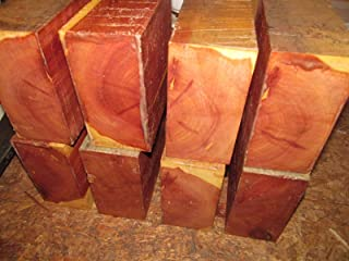 "Eastern Red Cedar Lathe Turning Exotic Wood Bowl Blanks Blocks, 5"" X 5"" X 3"", Set of 8"