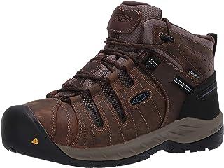 Men's Flint II Mid Steel Toe Waterproof Non Slip Work Shoe Construction Shoe Cascade Brown/Orion Blue