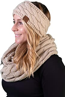 Funky Junque Cable Knit Fuzzy Lined Headwrap with Matching Infinity Scarf