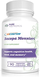 BaCognize® Bacopa Monnieri Extract 300 mg – Improve Memory & Learning – Reduce Stress & Anxiety – 90 Vegetarian Capsules –...