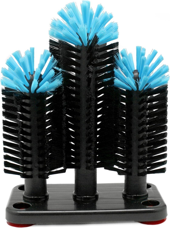 Vin Bouquet FIA 254 - Cepillo Triple Limpia Vasos Profesional con Base Antideslizante, negro y azúl