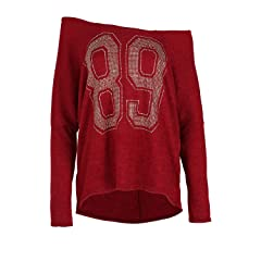 Womens Xmas One Off Shoulder Bardot Christmas Knitted Lagenlook Baggy Ladies Top