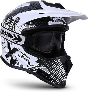 Soxon SKC-33 Kinder-Cross-Helm, ECE Schnellverschluss SlimShell Tasche, XXS 49-50cm, Fusion Weiß
