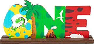 WATINC Roar One Wooden Table Decoration for 1st Baby Birthday Party, Detachable Wooden Centerpiece Sign for Dinosaur Theme...