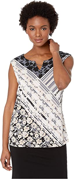 Printed Sleeveless Top with Crystal and Chain