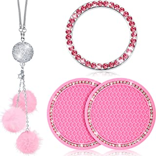 4 Pieces Bling Car Accessories for Women Rhinestone Interior Accessories Including 2 Crystal Cup Holders and Crystal Car Rear View Mirror Charms and Glitter Ring Emblem Sticker for Ladies Car Decor