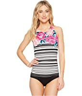 Jantzen - Floral Stripe High Neck H-Back One-Piece