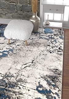 Well Woven Splash Blue & Grey Modern Abstract Geometric Paint Brush Stroke Area Rug 5 x 7 (5'3