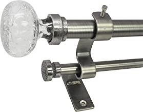 Beme International North Branch 3/4-Inch Crackle Glass Knob Telescoping Double Drapery Rod Set, 36 to 72-Inch, Pewter