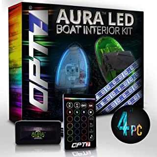 OPT7 Aura 4pc Boat Interior Glow LED Lighting Kit   Multi-Color Accent Neon Strips w/Switch