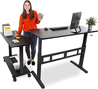 "Stand Steady L-Shaped Tranzendesk Standing Desk | Sit to Stand Desk with Add-On Desk Return | Customizable Stand Up Desk Arrangement Great for Any Office Space! (Black / 73"" x 42"")"