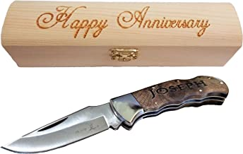 Engraved Pocket Knives | With Custom Personalized Wood Gift Box |Great mens anniversary gift | (Gentlemans Knife)
