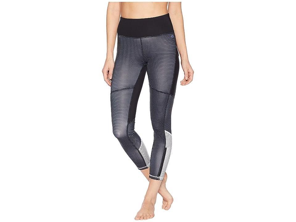 Champion Fashion Tights 7/8 Novelty Blocking (Black/White Stripe) Women