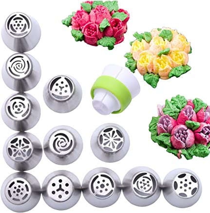 12 Piece Stainless Steel Flower Russian Icing Piping Nozzles Tips