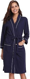 Vlazom Unisex Waffle Dressing Gown Pure Cotton Lightweight Bath Robe for Spa Hotel Sleepwear with all Seasons