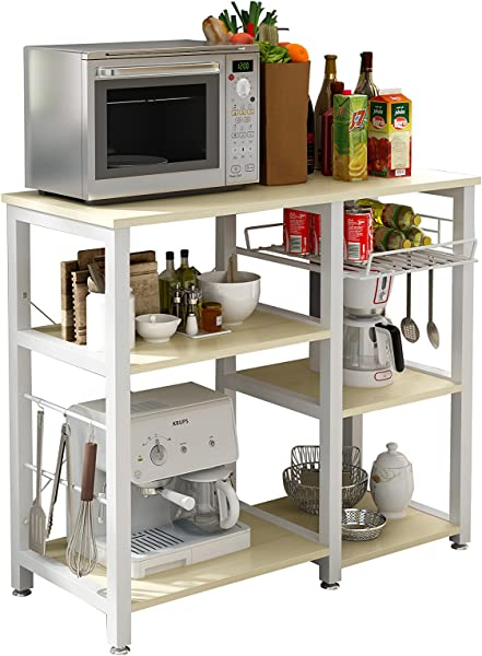 Polar Aurora 3 Tier 35 Microwave Stand Storage Kitchen Baker S Rack Utility Microwave Oven Stand Storage Cart Workstation Shelf Grain