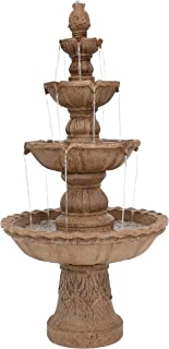 Sunnydaze 4-Tier Outdoor Water Fountain with Pineapple Top - Large Outside Floor Waterfall Fountain Feature for Garden, Backyard, Patio, Porch, or Yard - Tan, 52 Inch