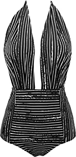 Retro One Piece Backless Bather Swimsuit High Waisted Pin Up Swimwear(FBA)