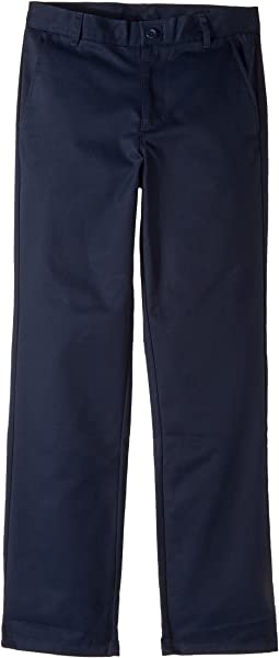 Regular Flat Front Twill Double Knee Pants (Big Kids)