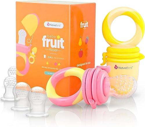 Alimentador antiahogo bebe, chupete fruta bebe de NatureBond (2 piezas), mordedores bebes | Además incluye bolsitas d...