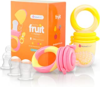 NatureBond Baby Food Feeder/Fruit Feeder Pacifier (2 Pack) - Infant Teething Toy Teether in Appetite Stimulating Colors | ...