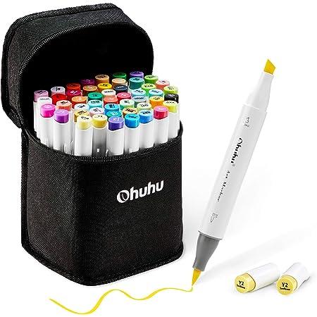 48 rotuladores artísticos de colores con doble punta de Ohuhu. Rotuladores para niños, artistas, estudiantes de dibujo, ideales para dibujar, colorear, caligrafía, subrayar o hacer ilustraciones