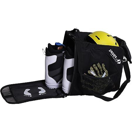Driver13 ® Bolsa para botas de esquí Bolsa para botas de esquí con compartimento para casco para botas blandas duras inliner y bolsa para botas negro
