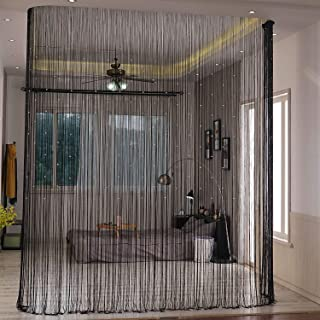 Lewondr Beaded String Curtain, Decorative Crystal Clear Beads Curtain Window Sheer Strip Blind Door Panel Fringe Room Divider for Halloween Doorway House Coffee 39x79 Inch(100x200 cm) - Black