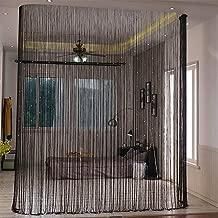 Lewondr Beaded String Curtain, Decorative Crystal Clear Beads Curtain Window Sheer Strip Blind Door Panel Fringe Room Divider for Halloween Doorway House Coffee 39x79 Inch(100x200 cm) - Black