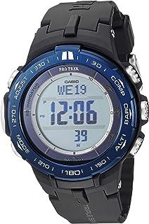Men's Pro Trek Stainless Steel Quartz Watch with Resin Strap, Black, 23 (Model: PRW-3100YB-1CR)