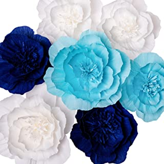 Paper Flower Decorations, Giant Paper Flowers (Navy Blue, Light Blue, White, Set of 7), Large Paper Flowers, Crepe Paper Flowers for Wedding, Nursery Wall Decoration, Baby Shower, Bridal Shower
