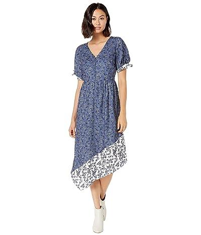 kensie Nostalgic Blooms Short Sleeve Dress KS8K8382 (Blue Indigo Combo) Women