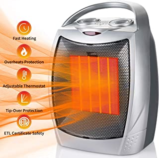 750W/1500W Ceramic Space Heater Portable Electric Heater with Overheats & Tip-Over Protection, Desktop Room Heater with Adjustable Thermostat for Office Home Indoor