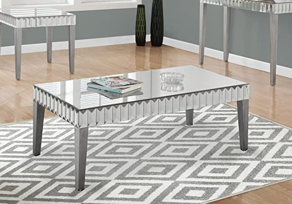 Monarch Specialties I I 3720 Accent Cocktail Coffee Table 48 X 24 X 18 Brushed Silver Mirrored
