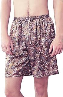 b90b91fa69 Dolamen Homme Bas de Pyjama Shorts, Paquet de 2 Homme Satin sous-vêtements  Caleçon