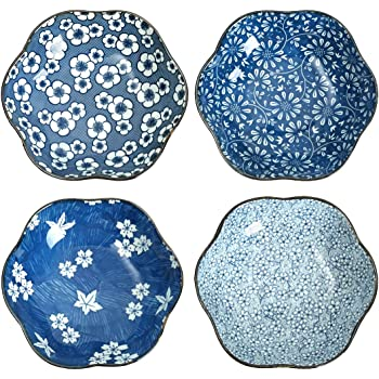 Shallow Bowls Blue and White Assorted Patterns Pasta Bowl 12 Ounce Set of 4