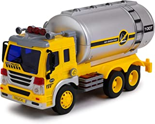 Toy To Enjoy Oil Tanker Truck Toy with Light & Sound - Friction Powered Wheels & Realistic Detailing - Heavy Duty Plastic Vehicle Toy for Kids & Children